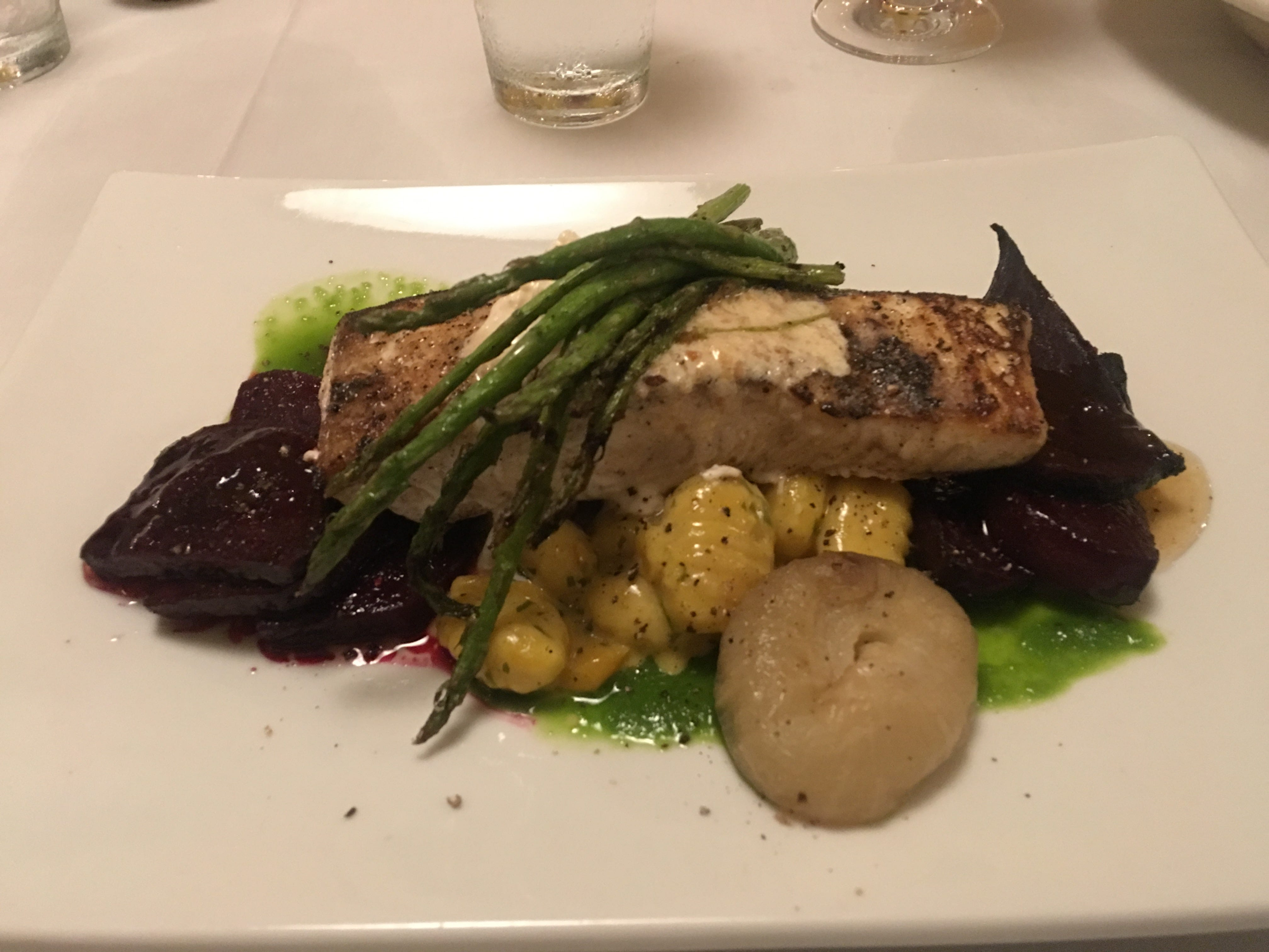 Pan-seared Norwegian halibut topped with toasted almond compound butter, honey roasted beets, grilled asparagus, and Cipollini onions was the Fire and Wine special seafood dish of the night.