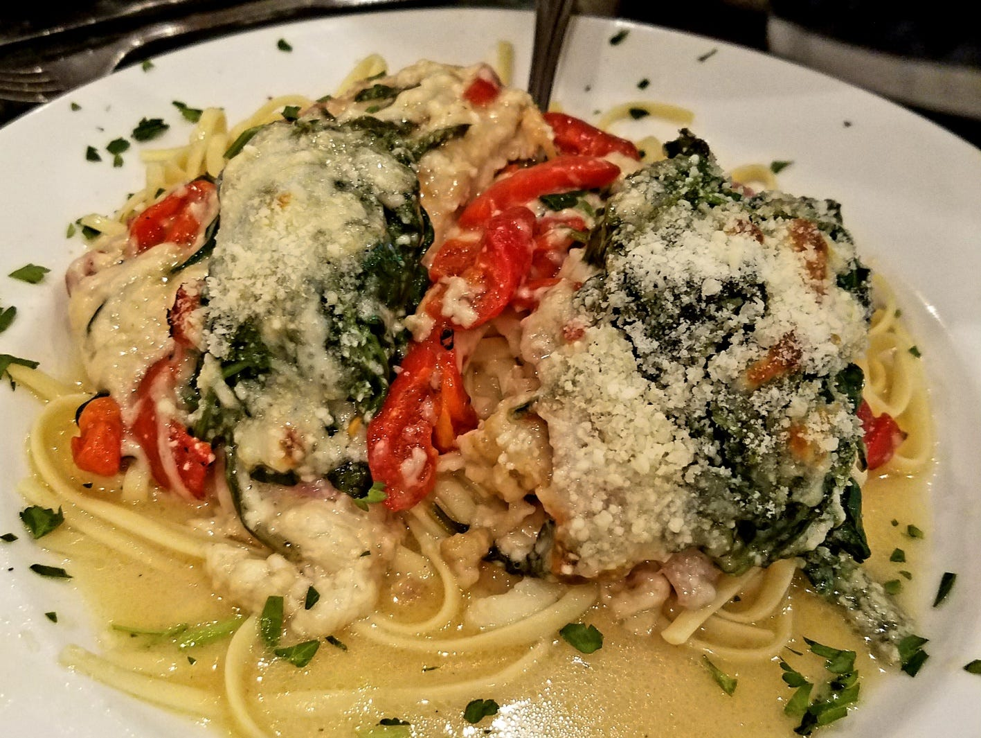The chicken saltimbocca was perfectly sauteed what is the best dish of the evening.