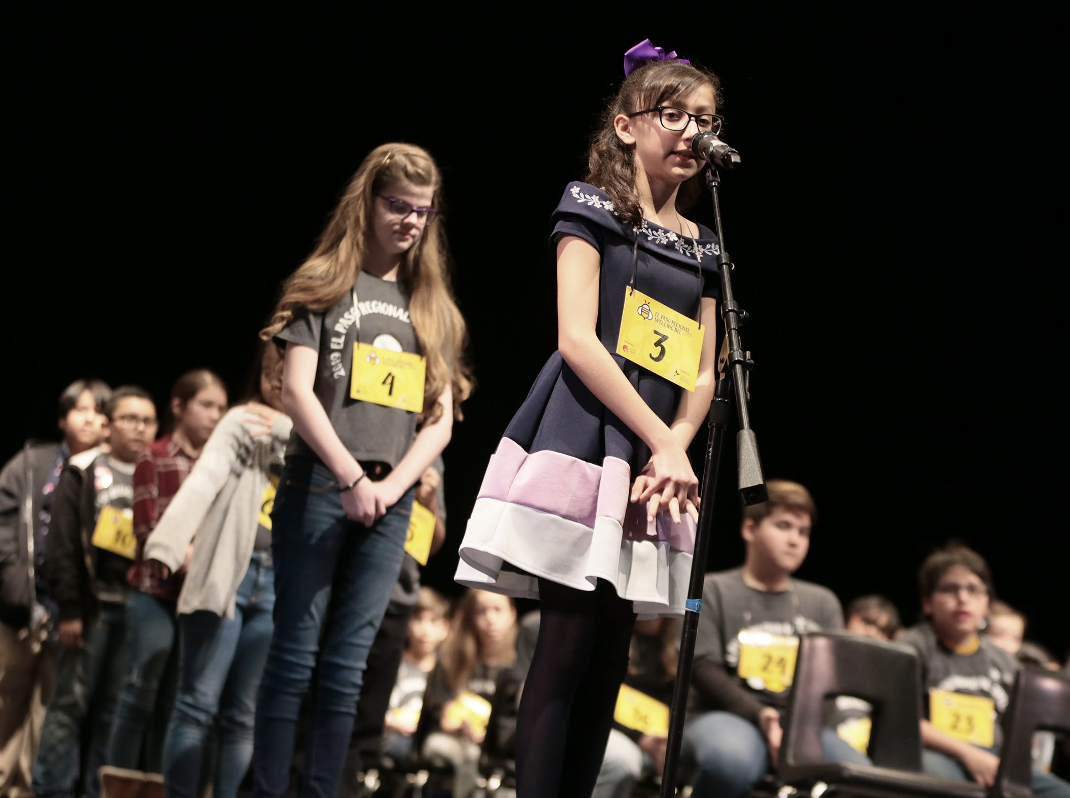Canutillo Middle School's Alina Banda spells her word at the 2019 El Paso Regional Spelling Bee Friday at Bowie High School.