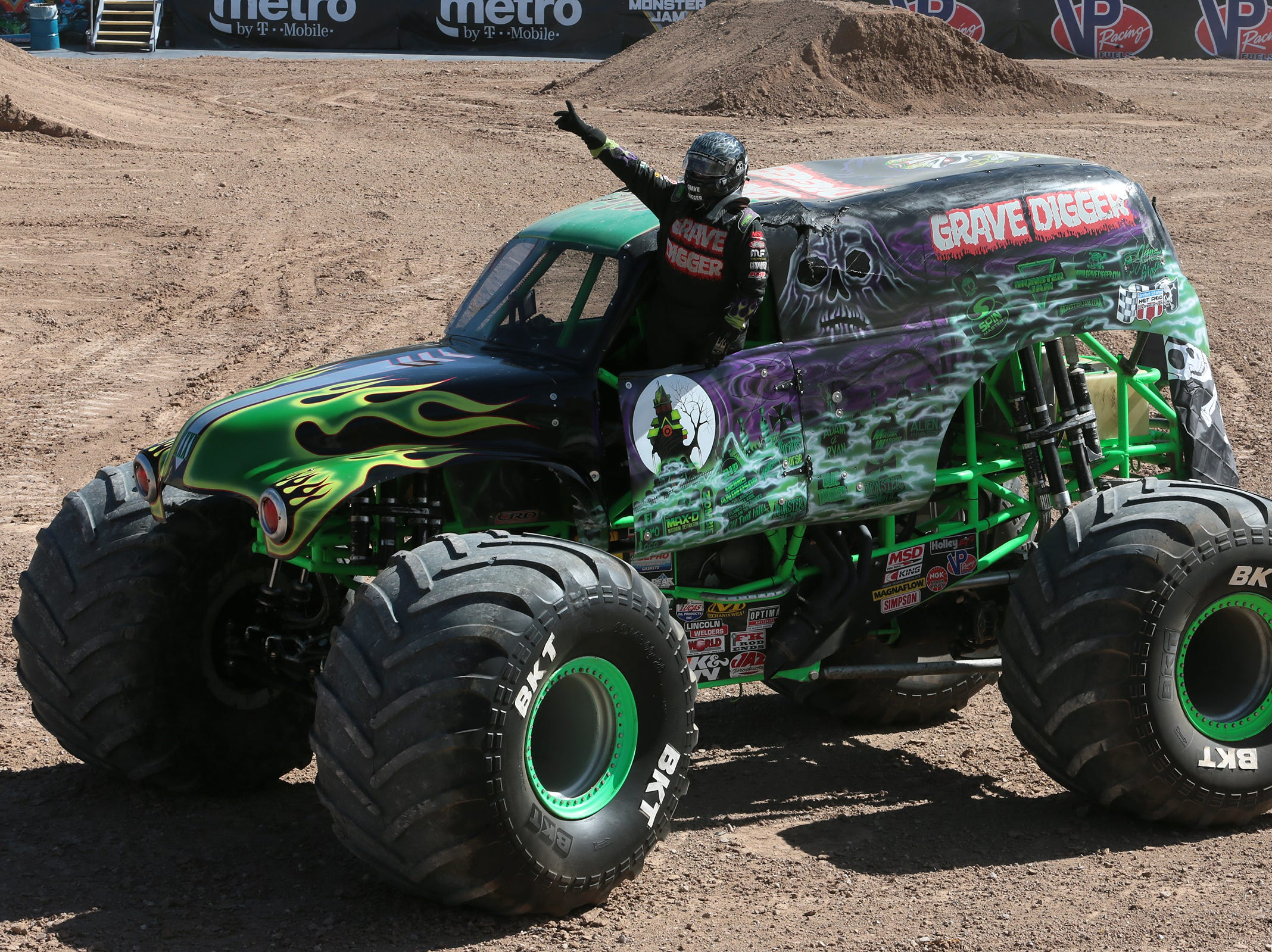 Adam Anderson emerges from his Grave Digger monster truck after a demonstration in the Sun Bowl. Monster Jam returns to the Sun Bowl Saturday and Sunday.