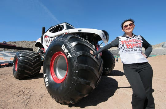 Candice Jolly stands with her monster truck  Monster Mutt in the Sun Bowl. Monster Jam returns to the Sun Bowl Saturday and Sunday.