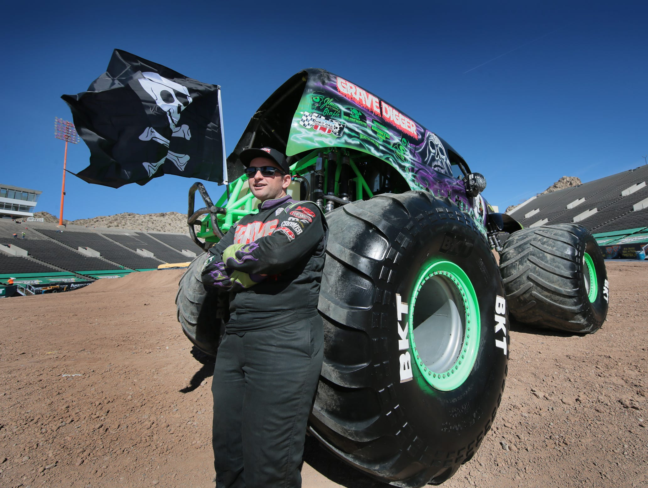 Adam Anderson will pilot his Grave Digger monster truck this weekend during Monster Jam at the Sun Bowl.