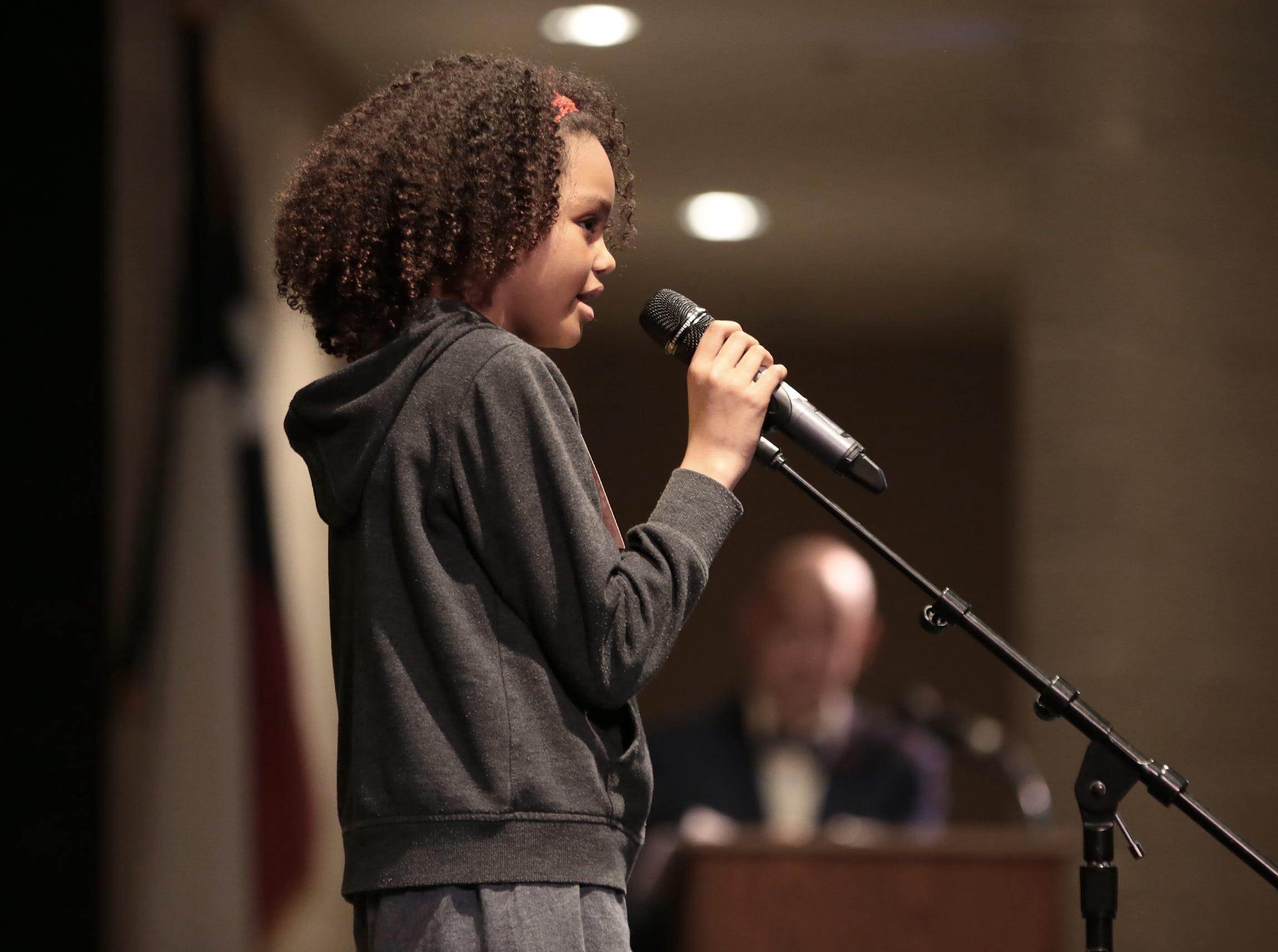 Jaiyana Jones spells her word at the 2019 El Paso Regional Spelling Bee Friday at Bowie High School.