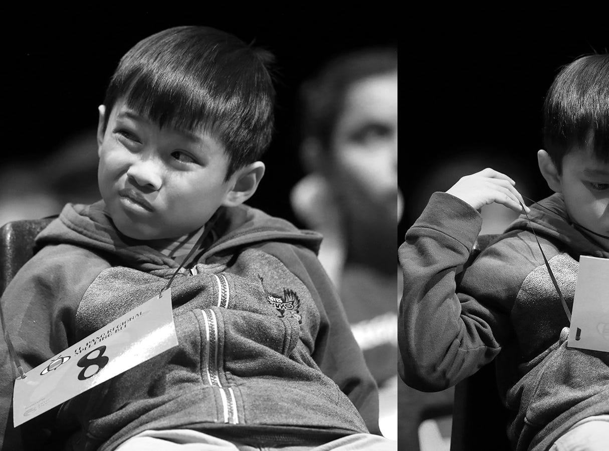 Noah Nguyen tries to pass the time between words at the 2019 El Paso Regional Spelling Bee Friday at Bowie High School.