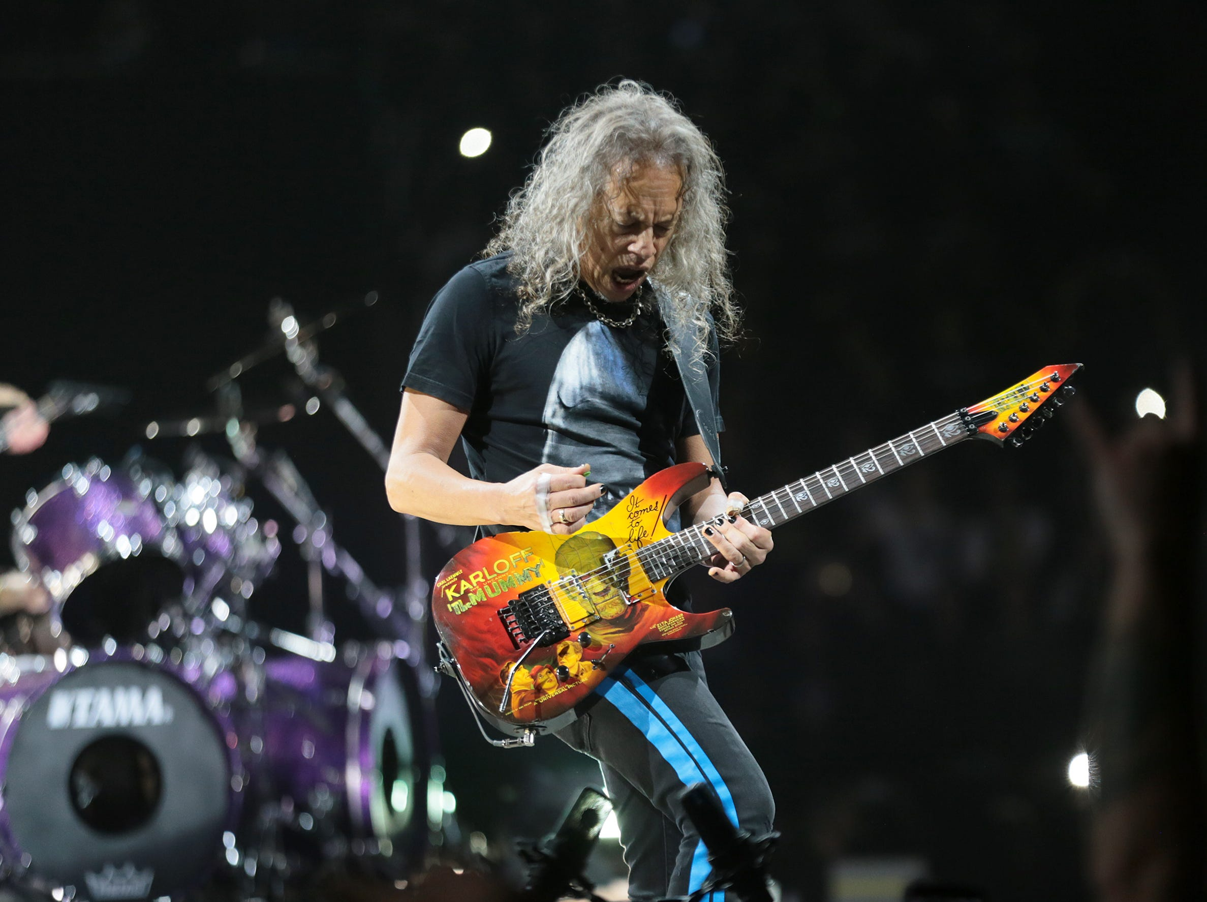 Metallica lead guitarist Kirk Hammett plays to a sold-out Don Haskins Center on Thursday night, Feb. 28, 2019.