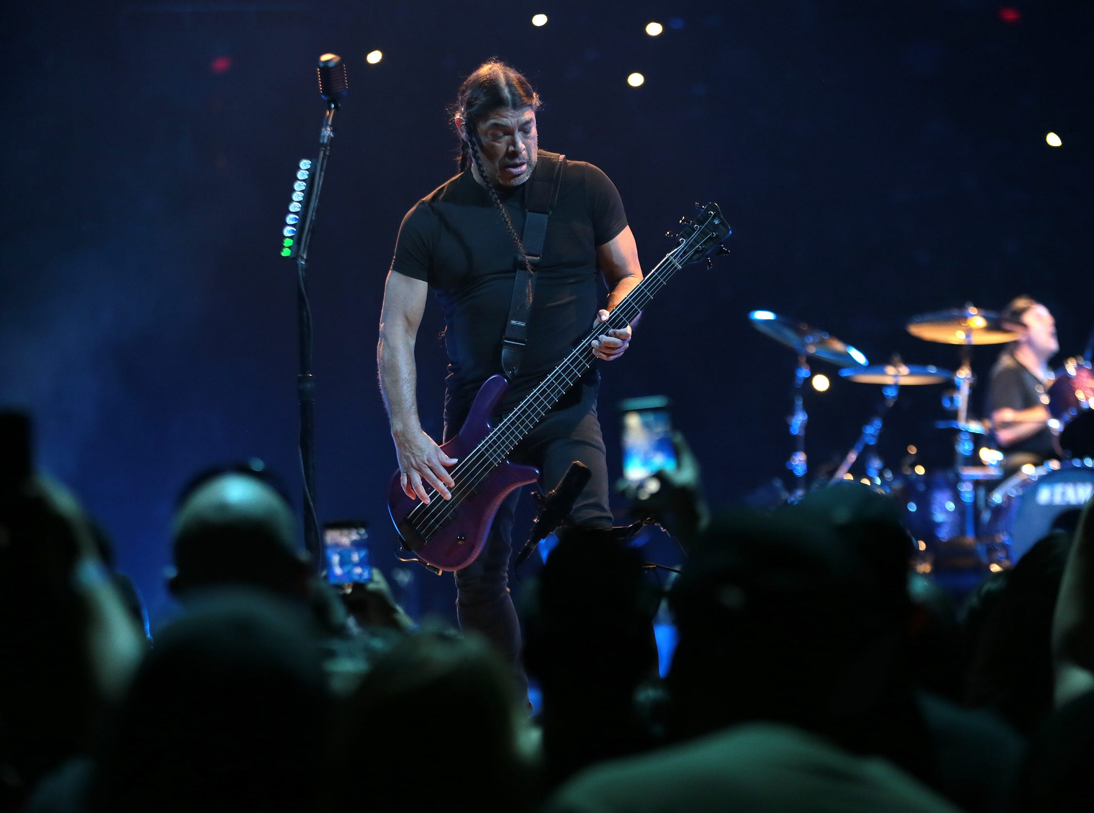 Metallica bassist Robert Trujillo performs during the rock group's sold-out concert at the Don Haskins Center on Thursday night, Feb. 28, 2019. The longtime metal band brought their long-awaited show to El Paso, along with comedian Jim Breuer to warm up the crowd.