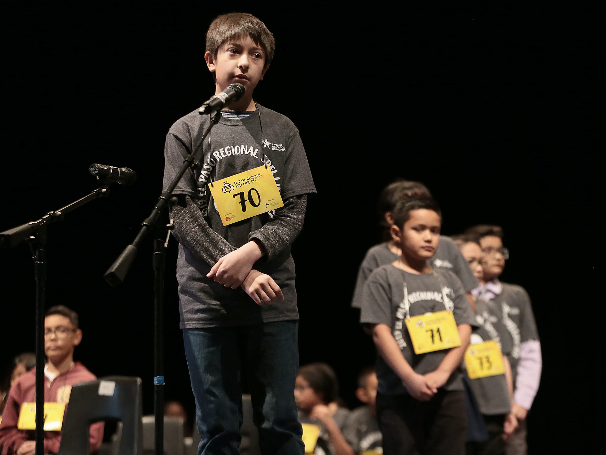 Ian Austin, of Edgemere Elementary School, listens for his word at the 2019 El Paso Regional Spelling Bee on Friday, March 1, 2019, at Bowie High School. He took third place Saturday.
