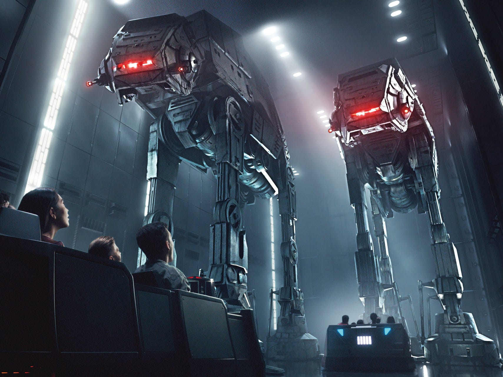 This rendering released by Disney and Lucasfilm shows people on the planned Star Wars: Rise of the Resistance attraction, part of   Star Wars: Galaxy's Edge. The 14-acre area set to open this summer at the Disneyland Resort in Anaheim.