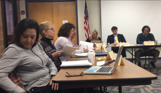 The 2019 budget for the Vineland Public Library and related proposed layoffs were  back for discussion Thursday night at a meeting of the board of trustees. Left-to-right are members Maritza Gonzalez, Sally Goode, Karen Kreck, MacLeod Carre, and Melanie Lovisone, Solicitor Jeff Medio, and President Luis Amberths.