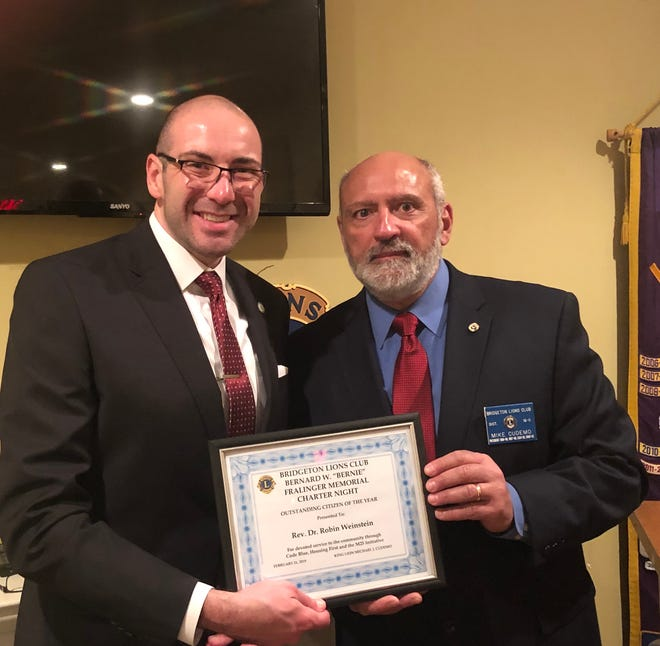 Mike Cudemo (right), president, Bridgeton Lions Club, recently presented Robin Weinstein, with the first Bernie Fralinger Memorial Outstanding Citizen of the Year Award. Weinstein spoke to the group about the team effort and support for the M25 Initiative and Code Blue. In addition to the award, Cudemo presented a donation for the M25 Initiative to Weinstein. Bernie Fralinger was an active, longtime member of the Bridgeton Lions Club.