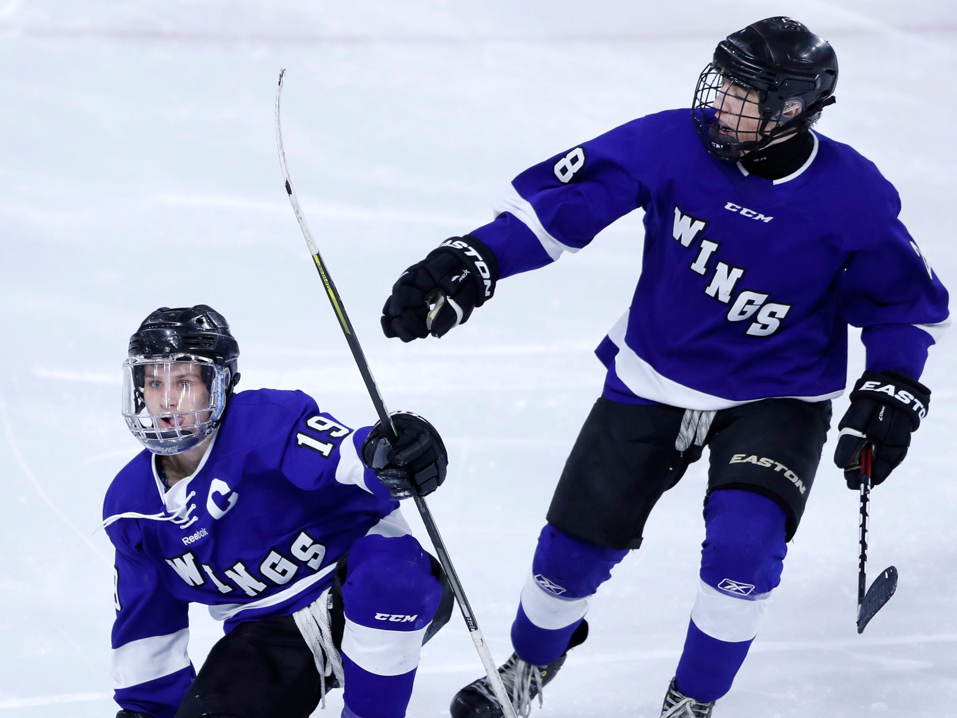 Waukesha North Co-op's Chad Larsen celebrates the game-winning goal against Wausau West during the WIAA State Hockey Tournament quarterfinals Thursday, Feb. 28, 2019, at Veterans Memorial Coliseum in Madison, Wis.