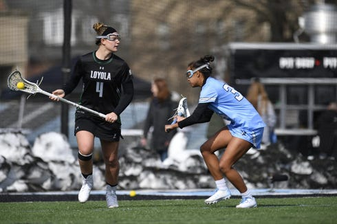 Loyola's Livy Rosenzweig, former Somers, player, shown in earlier action, scored four times and had an assist against No. 5 Florida Feb. 23, 3019. She was named Patriot League offensive player of the week.