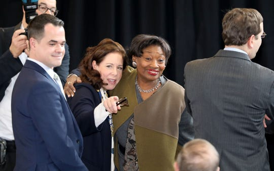 New York State Sen. Andrea Stewart-Cousins, center, greets people in the crowd before New York Gov. Andrew Cuomo delivered remarks about taxes at the Boys and Girls Club of Northern Westchester in Mount Kisco, March 1, 2019.
