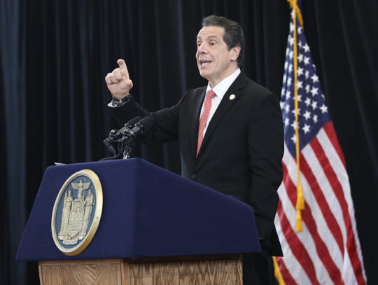 New York Governor Andrew Cuomo delivers remarks at the Boys and Girls Club of Northern Westchester in Mount Kisco, March 1, 2019.