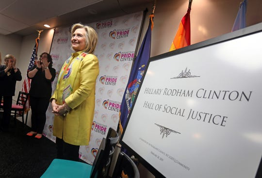 The Rockland County Pride Center holds an event in Nyack on Feb. 28, 2019, honoring Secretary Hillary Rodham Clinton, naming a main event room Hillary Rodham Clinton Hall of Social Justice after her. This event launches the centers fundraising effort to establish a health care clinic.