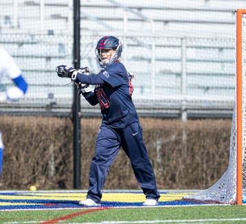 Penn's Mikaila Cheeseman, who formerly played for Suffern High , is shown in action during Penn's win over the University of Delaware Feb. 16, 2019. Cheeseman won Ivy League defensive player of the week honors the following week for her play in an overtime win over Johns Hopkins.