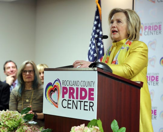 Secretary Hillary Rodham Clinton speaks during The Rockland County Pride Center event in Nyack on Feb. 28, 2019 to honor Clinton by naming a main event room Hillary Rodham Clinton Hall of Social Justice after her. This event launches the centers fundraising effort to establish a health care clinic.