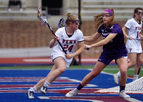 Gabby Rosenzweig, a former Somers player, shown in action in past game for Penn vs. Northwestern. Rosenzweig was named Ivy League offensive player of the week after scoring three times and adding four assists in a Feb. 23, 2019 overtime win against Johns Hopkins.