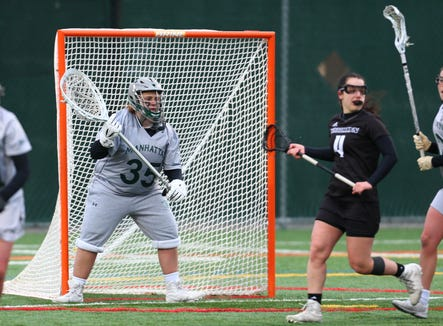 Manhattan College goalie Nikki Prestiano, formerly of Yorktown High, in action Feb. 27, 2019 vs. LIU Brooklyn. She was named MAAC defensive player of the week for her goaltending the previous week vs. Vermont and LaSalle during which she recorded her 400th collegiate save.