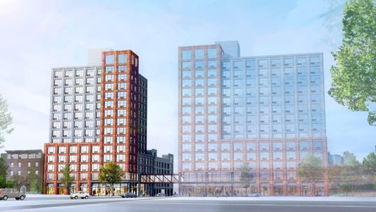 Twin, 14-story apartment buildings will be built at 327 and 339 Huguenot St.