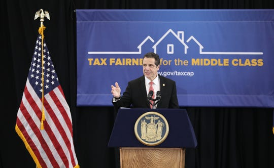 New York Governor Andrew Cuomo delivers remarks about taxes at the Boys and Girls Club of Northern Westchester in Mount Kisco, March 1, 2019.