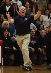 Felix Nicodemo during the  Class A Horace Greeley high school basketball coach Felix Nicodemo yells at a referee during the semifinal basketball game at Tappan Zee High School Feb. 28, 2019. Tappan Zee defeated Greeley 67-60 in double overtime.