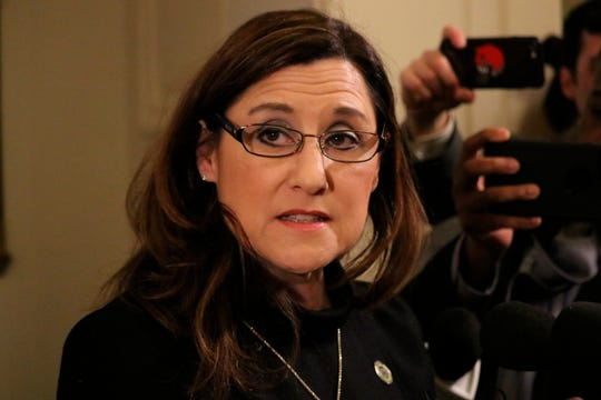 Maryland Del. Mary Ann Lisanti talks to reporters after the House of Delegates voted to censure her on Thursday, Feb. 28, 2019 in Annapolis, Md., for making a racial slur about a majority-black county. (AP Photo/Brian Witte)