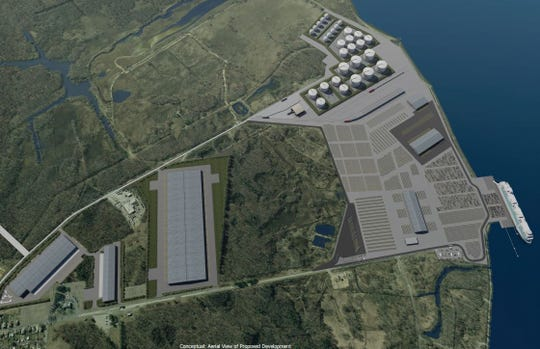 An artist rendering of a proposed fuel terminal and port near Greenwich Township, New Jersey.