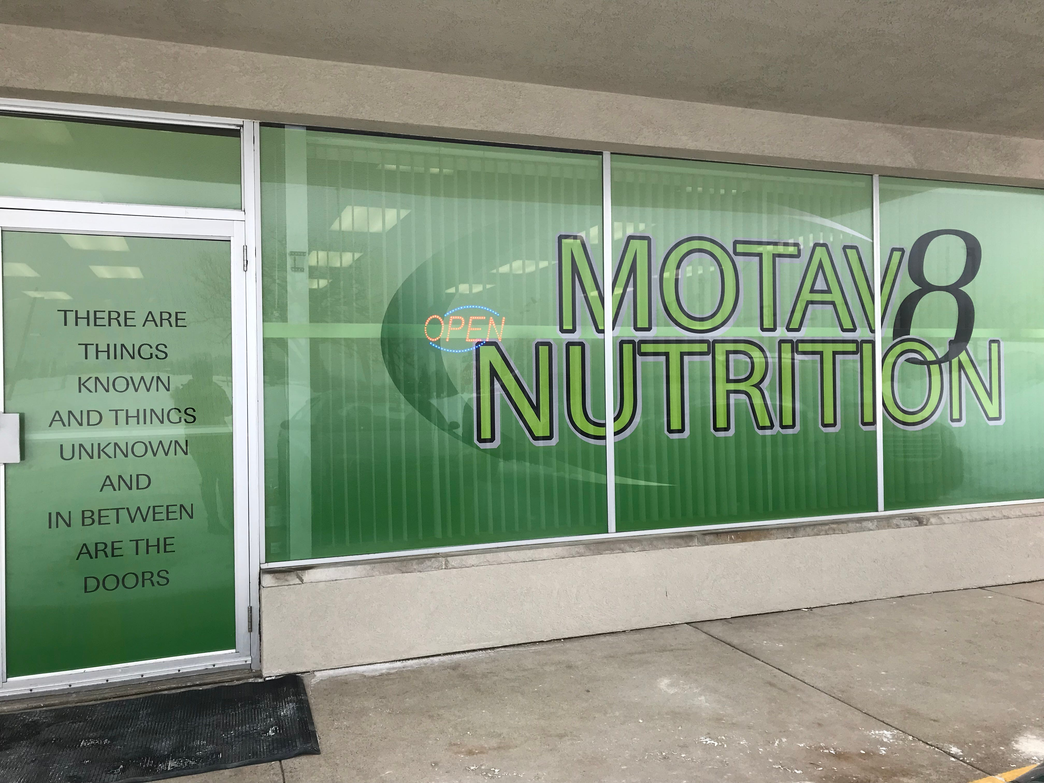 Motav8 Nutrition is a meal replacement nutrition club that offers a menu of protein-based teas, healthy energy drinks, shakes and iced coffee.