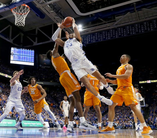 Kentucky forward PJ Washington shoots the ball against Tennessee during their game at Rupp Arena.
