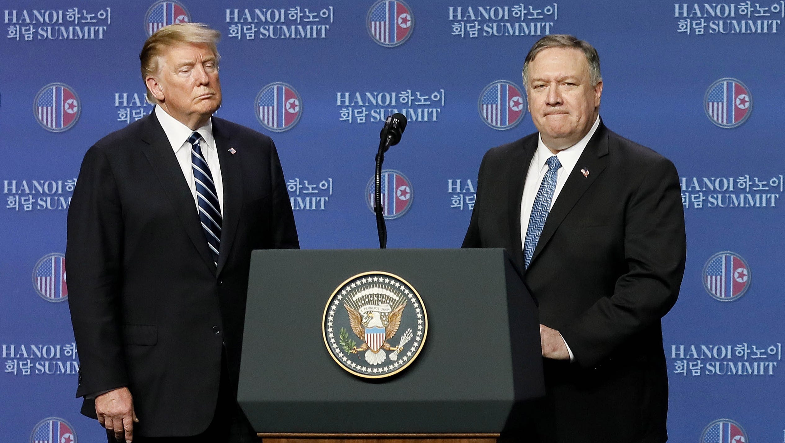 President Donald J. Trump and Secretary of State Mike Pompeo (R) react during a press conference after a meeting with the North Korean leader, in Hanoi, Vietnam, 28 February 2019. US President Trump and North Korean leader Kim Jong-Un abruptly ended their second summit on 28 February, with no agreement.