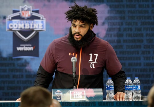 Oklahoma offensive lineman Cody Ford meets with the media at the NFL scouting combine.