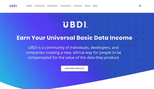 UBDI is a new community of developers who are creating apps that allow data to be shared with interested companies in exchange for a proprietary currency that is then shared with those providing the data.