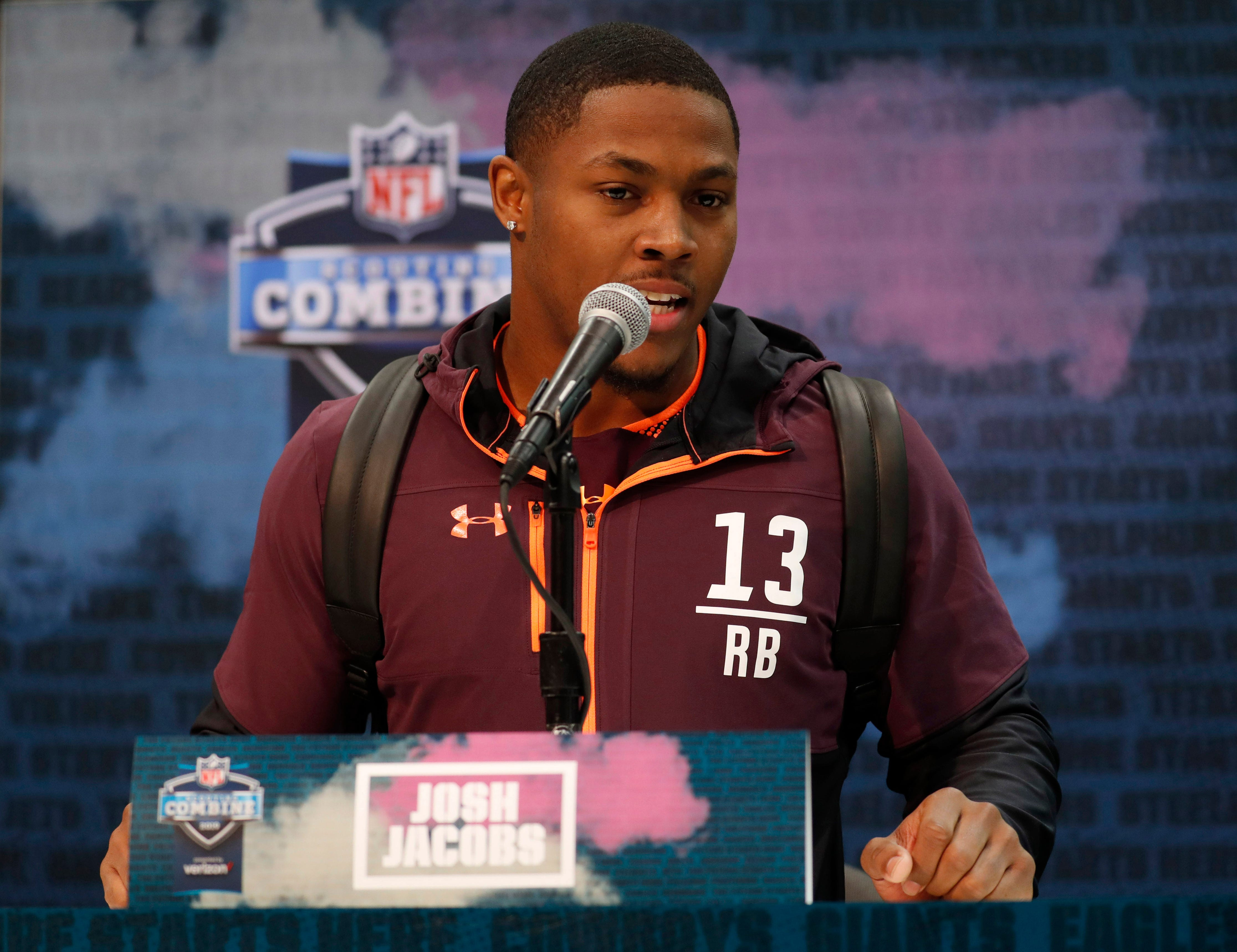 Josh Jacobs speaks to the media during the combine at the Indianapolis Convention Center.