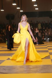 Karlie Kloss wears a creation as part of the Off-White ready to wear Fall-Winter 2019-2020 collection, that was presented in Paris on Feb. 28, 2019.