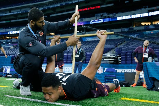 Sioux Falls offensive lineman Trey Pipkins (OL45) is measured during the 2019 NFL Combine at Lucas Oil Stadium.