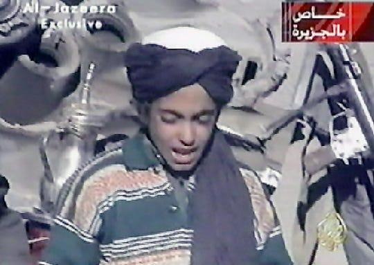 A video frame grab from Nov. 7, 2001, shows Hamza bin Laden, the youngest son of  Saudi born Osama bin Laden.