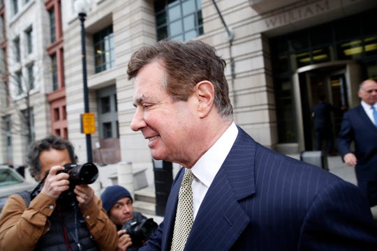 Paul Manafort departs U.S. District Court after a hearing April 19, 2018, in Washington.
