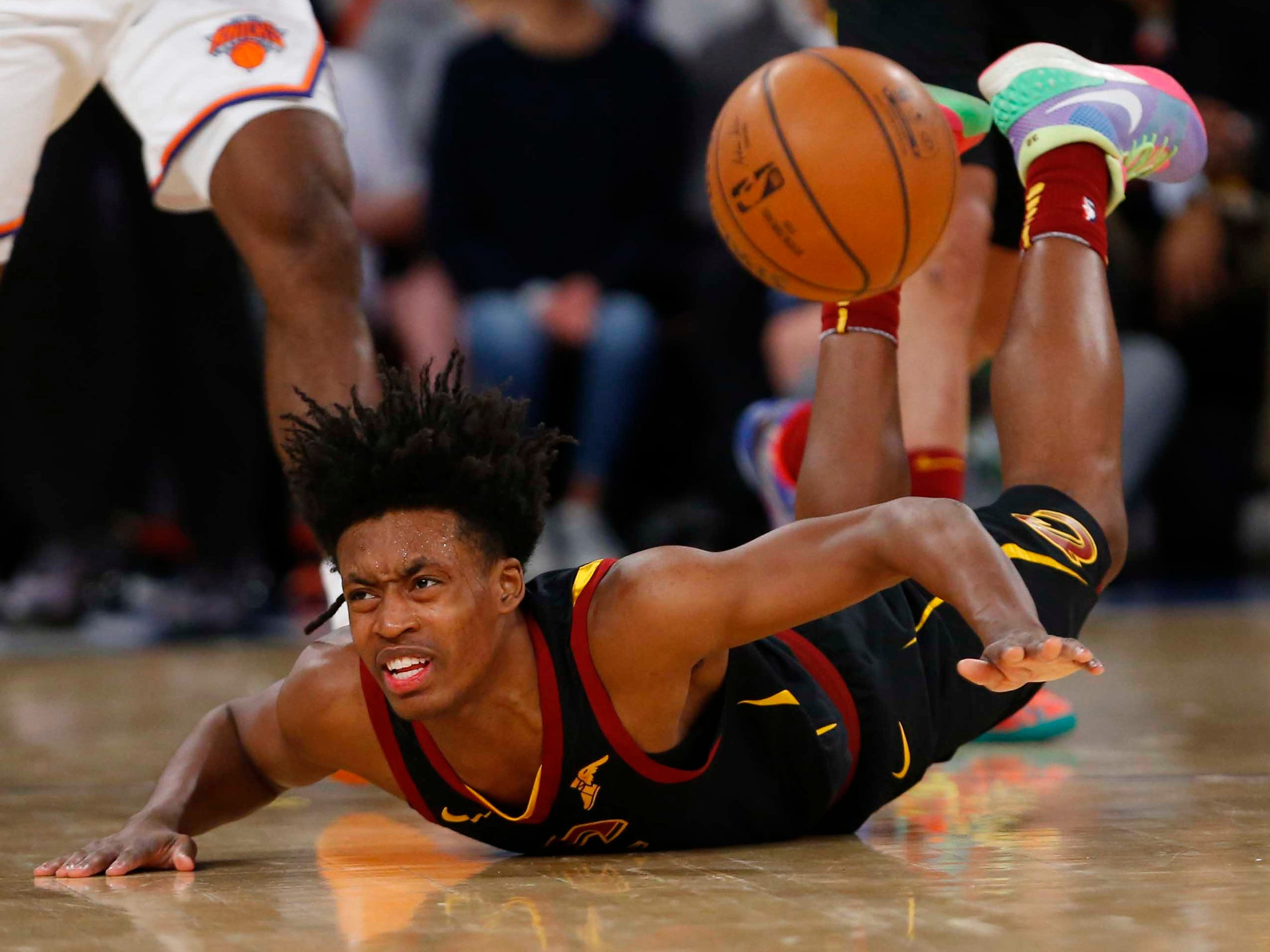 Feb. 28: Cavaliers guard Collin Sexton falls to the floor scrambling after a loose ball during the second half against the Knicks at Madison Square Garden.