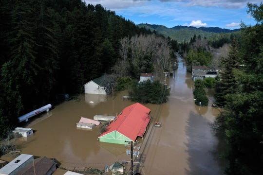 An aerial view of a flooded neighborhood on Feb. 28, 2019 in Guerneville, Calif. The Russian River has crested over flood stage and is now receding after floodwaters inundate the town of Guerneville.