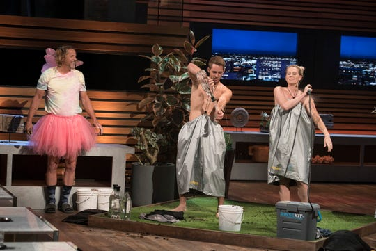"Kressa Peterson, an entrepreneur from Woodstock, Georgia, pitches her waterproof product that allows you to shower in public with privacy,  but gives ""timeouts"" to misbehaving (and skeptical) sharks on ABC's 'Shark Tank.'"