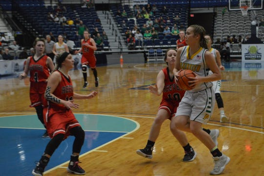 Plainview's Aryn Johnson (13) works her way inside against Reeves Friday in the Class C Championship Game.