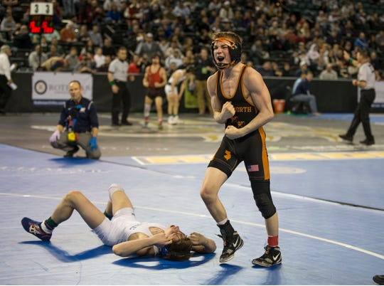 Middletown North's Tyler Klinsky celebrates after he pinned Shore's Jack Maida in the 106-pound semifinals of the NJSIAA Individual Wrestling Championships Friday night.