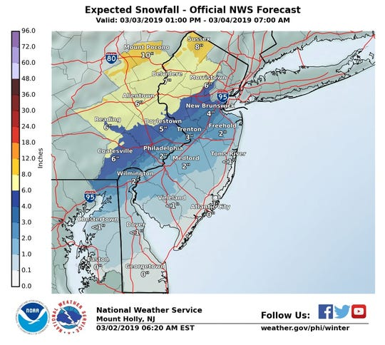 The National Weather Service snow forecast for this weekend.
