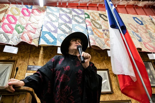 Abilene area historian and author Nancy Robinson Masters retells the story of the murder of Alex Sears while dressed as his widow, Mary Anne Sears, during the Texas Independence Day celebration at the Merkel Area Historical Museum Saturday.