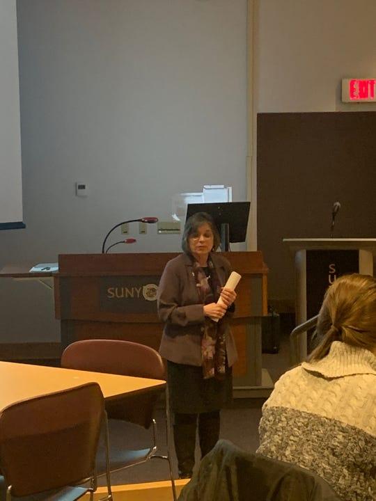 Donna Lupardo speaks about recreational marijuana at SUNY Broome.