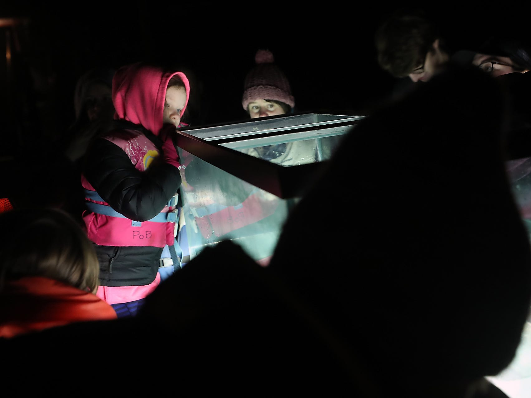 Youngsters peer into the tank of display at the Night Time Pier Peer  at the Brownsville Marina on Friday, March 1, 2019. Kitsap Beach Naturalists shined their lights on the sea life that flourishes around the pier and divers captured a few specimens and shared them with those taking part in the event.