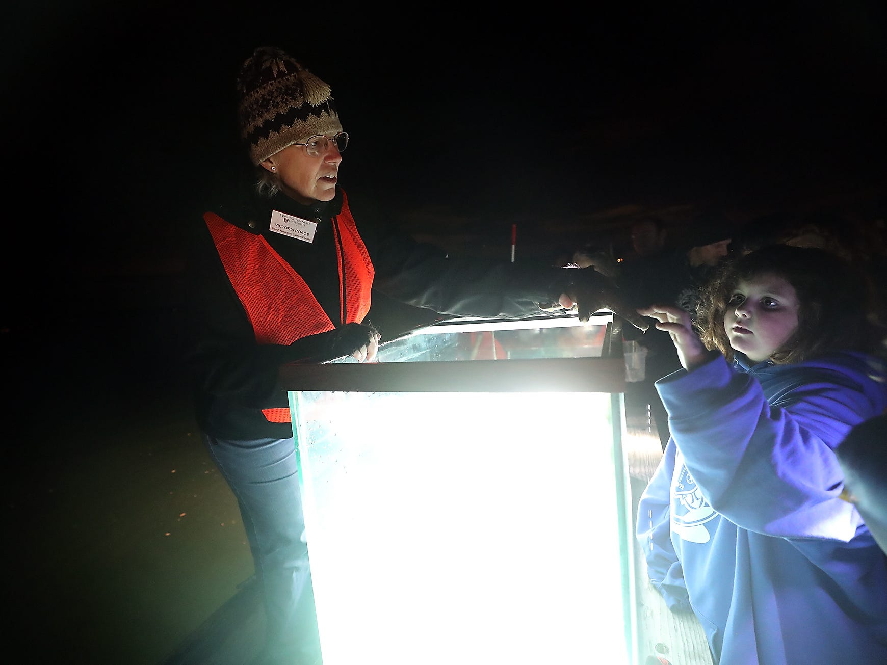 Kitsap Beach Naturalist Victoria Poage lets a couple of youngsters touch a star fish before she puts him in the tank during the Night Time Pier Peer at the Brownsville Marina on Friday, March 1, 2019. Kitsap Beach Naturalists shined their lights on the sea life that flourishes around the pier and shared their knowledge with those taking part in the event.