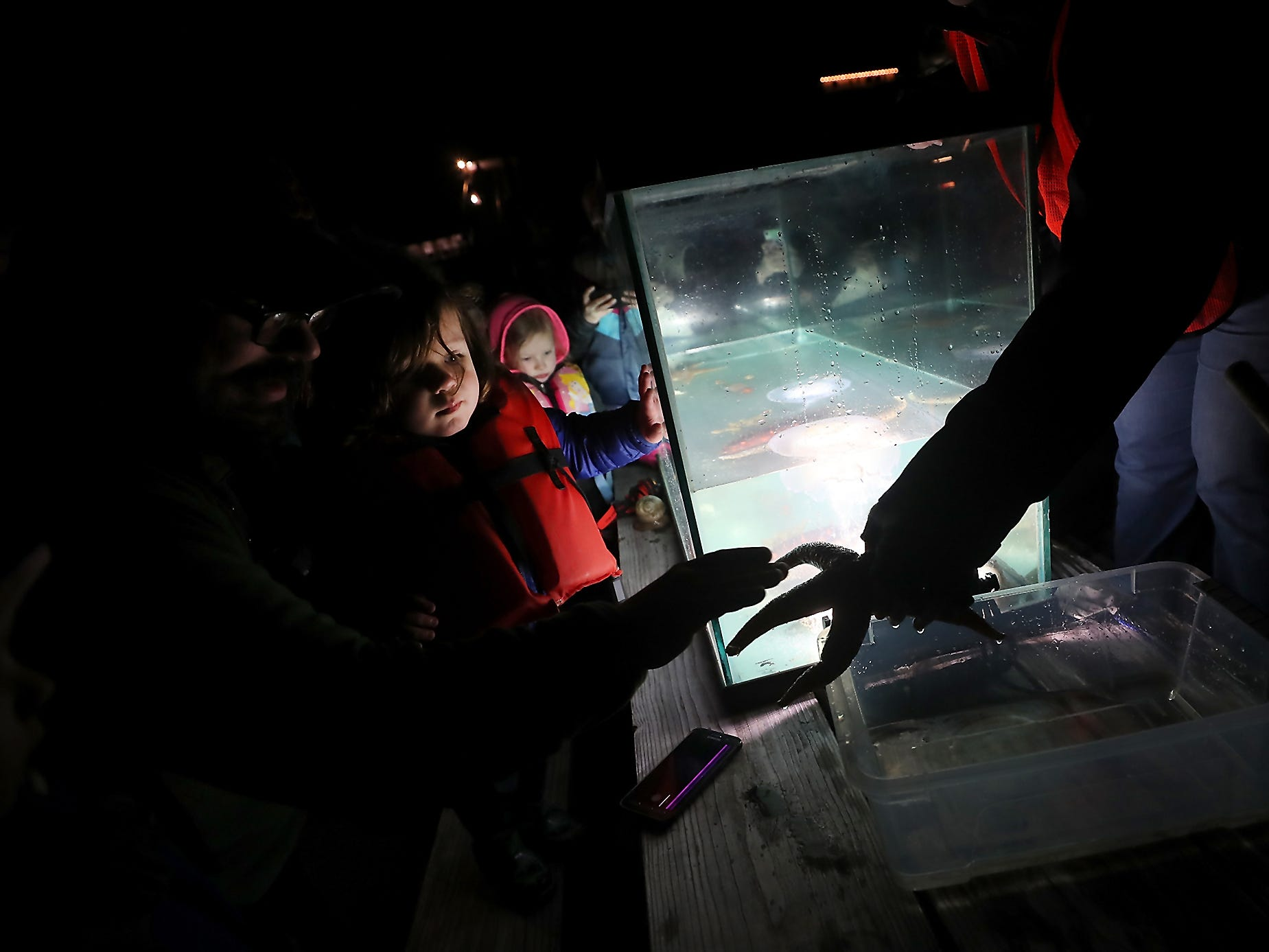 Jed Morgan and son Ronan, 2, take a closer look at a starfish held by Kitsap Beach Naturalist Victoria Poage during the Night Time Pier Peer at the Brownsville Marina on Friday, March 1, 2019. Kitsap Beach Naturalists shined their lights on the sea life that flourishes around the pier while scuba divers captured specimens to share with those on the dock.