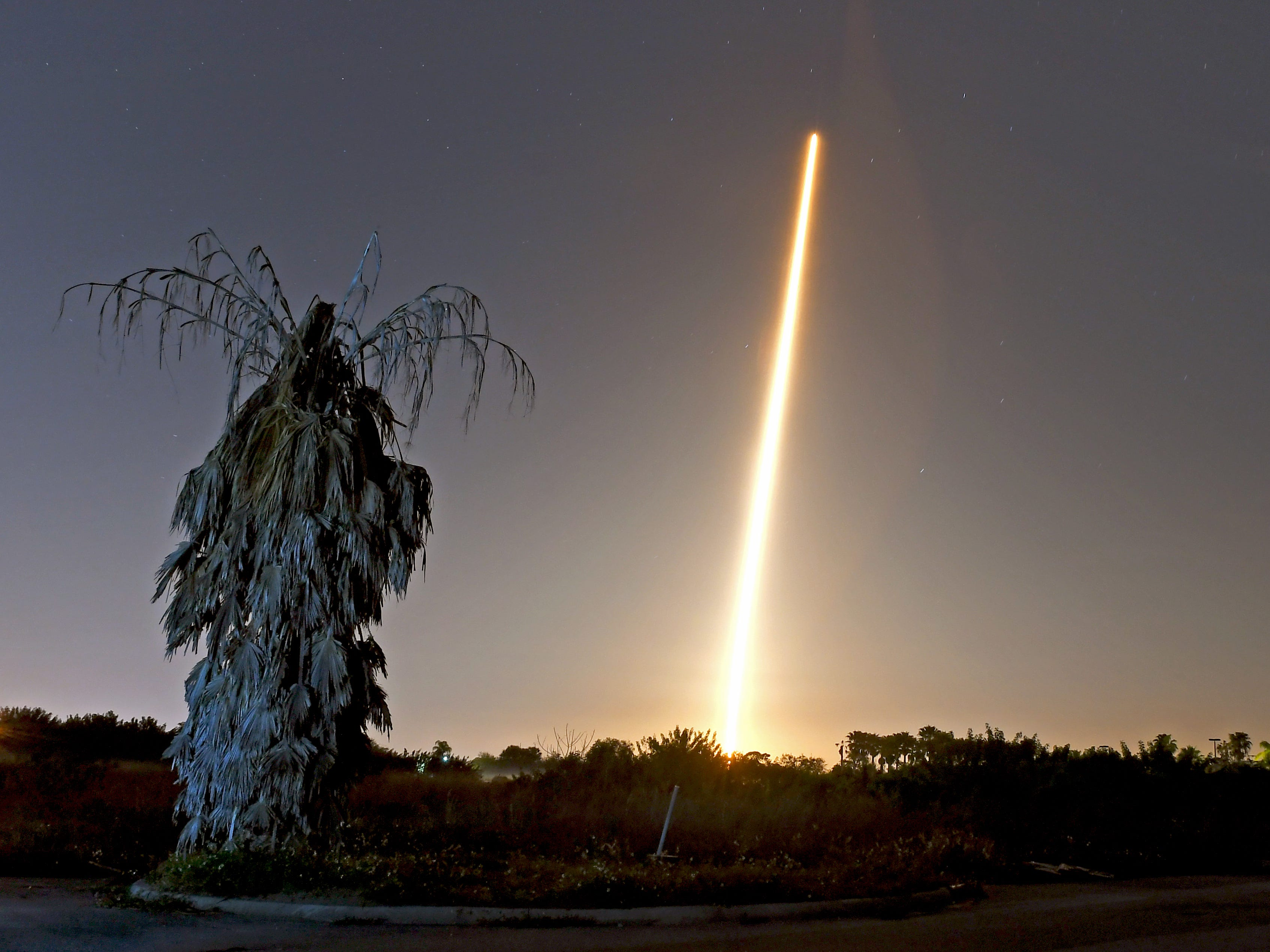 The SpaceX rocket launch with Crew Dragon capsule as seen in a time exposure from Viera.